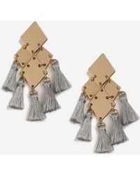 TOPSHOP - Grey Mini Tassle Drop Earrings - Lyst