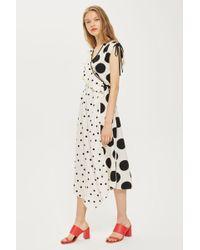TOPSHOP - Mix Spot Ruched Midi Wrap Dress - Lyst