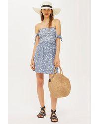 TOPSHOP - Tie Sleeve Print Bardot Dress - Lyst