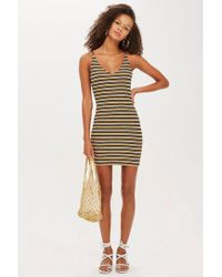 3765a72be3cb9 TOPSHOP - Metallic Stripe Body-con Dress - Lyst