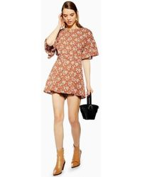 TOPSHOP - Ditsy Floral Playsuit - Lyst