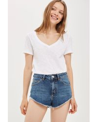 TOPSHOP - Moto Kiri High Side Shorts - Lyst