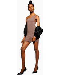 6a4a66e049d2 TOPSHOP Petite One Shoulder Shift Dress in Purple - Lyst