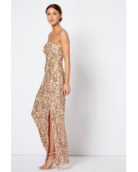 Club L - Strapless Bandeau Sequin Maxi Dress By London - Lyst