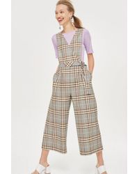 TOPSHOP - Checked Jumpsuit - Lyst