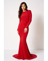 Club L - Red Backless Fishtail Maxi Dress By - Lyst