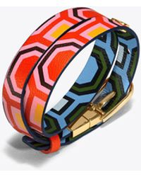 Tory Burch - Double-wrap Reversible Printed Bracelet - Lyst