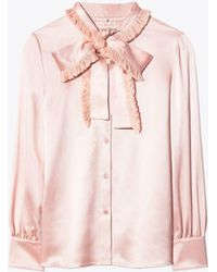 Tory Burch - Fringe Bow Blouse | 693 | Button Down Shirts - Lyst