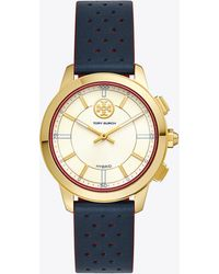 Tory Burch - Collins Hybrid Smartwatch, Navy Leather/gold-tone, 38 Mm - Lyst