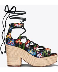 Tory Burch - Positano Embroidered Lace-up Platform Espadrille - Lyst