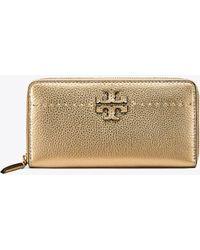 Tory Burch - Mcgraw Metallic Zip Continental Wallet - Lyst