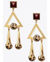 Tory Burch - Studded Stone Geo Statement Earring - Lyst