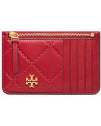 Tory Burch - Georgia Top Zip Leather Card Case - Lyst