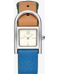 Tory Burch - Thayer Watch, Beige & Blue Leather/stainless Steel, 25 X 39 Mm - Lyst