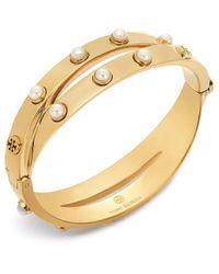 Tory Burch - Double-wrap Metal Embellished Bracelet - Lyst