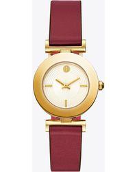Tory Burch - Sawyer Twist Round Watch, Pink/red Leather, Gold Tone, 29 X 29 Mm - Lyst