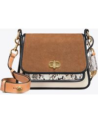 a08ef96684889 Tory Burch - Bennett Mixed-materials Top-handle Small Saddlebag - Lyst