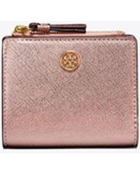 Tory Burch - Robinson Metallic Mini Wallet - Lyst