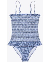 5438766aa84 Tory Burch Costa One Piece Swimsuit in White - Lyst