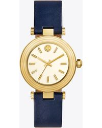 Tory Burch - Classic T Watch, Navy Leather/gold-tone, 35 Mm - Lyst