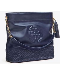 04b49c6e341 Lyst - Tory Burch Fleming Denim Medium Bag in Blue