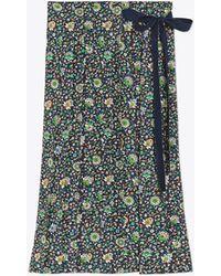 Tory Burch - Pleated Silk Wrap Skirt - Lyst
