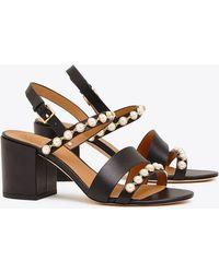 f6529fa120a0f Tory Burch - Emmy Embellished Leather Sandals - Lyst