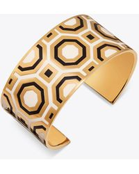 Tory Burch - Printed Enamelled Wide Cuff - Lyst