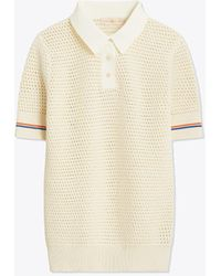 Tory Burch Knit Mesh Polo Top