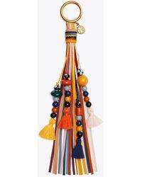 Tory Burch Wood Bead Tassel Key Ring - Orange