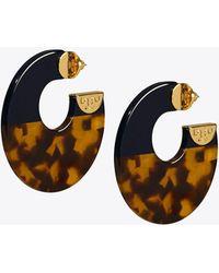 Tory Burch - Resin Color-block Hoop Earring - Lyst