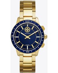 Tory Burch - Collins Hybrid Smartwatch, Gold-tone Stainless Steel/navy, 38 Mm - Lyst