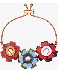 Tory Burch - Geo Floral Leather Bracelet - Lyst