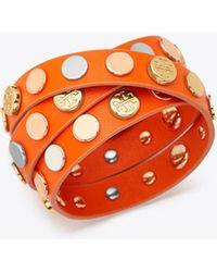 Tory Burch - Logo Studded Triple Wrap Bracelet | 680 | Bracelets - Lyst