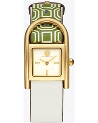 Tory Burch - Thayer Watch, Green Leather/gold-tone, 25 X 39 Mm - Lyst