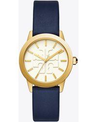 Tory Burch - Gigi Watch, Blue Leather/gold Tone, 36 X 42 Mm - Lyst