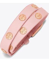 Tory Burch - Double-wrap Logo Stud Bracelet | 202 | Bracelets - Lyst