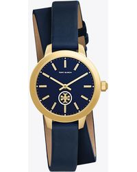 b7b9f2d6336 Tory Burch - Collins Leather 32mm Double Wrap Navy gold - Lyst