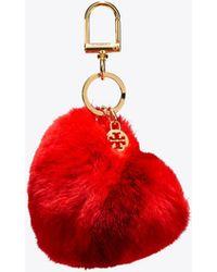 Tory Burch - Stripe Fur Heart Key Fob - Lyst