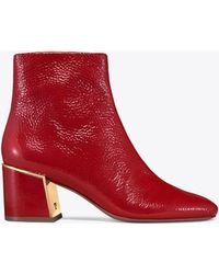 Tory Burch - Women's Juliana Tumbled Patent Leather Booties - Lyst
