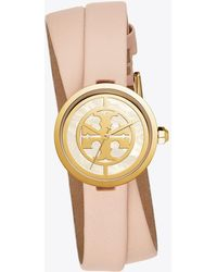 096d330f97e Tory Burch - The Reva 2-piece Leather Strap Watch - Pink - Lyst