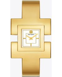 Tory Burch - T Bangle Watch, Gold-tone/cream, 25 Mm - Lyst