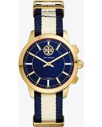 Tory Burch   Torytrack Hybrid Smartwatch, Navy/ivory/gold-tone, 38mm   Lyst