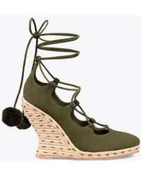 Tory Burch - Heather Wedge Lace-up Espadrille - Lyst