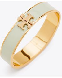 Tory Burch - Enameled Raised-logo Hinged Bracelet - Lyst