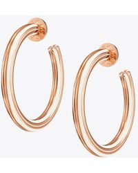 Tory Burch - Stretched-t Logo Hoop Earring - Lyst