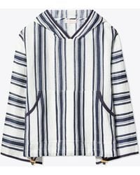 Tory Burch - Awning Stripe Linen Coverup Hoodie - Lyst