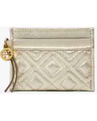 Tory Burch - Fleming Metallic Slim Card Case - Lyst