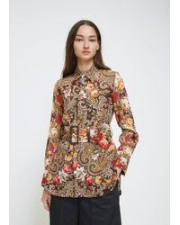 Y's Yohji Yamamoto - Brown Floral Belt Work Blouse - Lyst