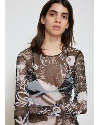 MM6 by Maison Martin Margiela - Scribble Print Bodysuit - Lyst